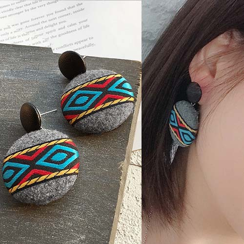 Anting Bohemian retro ethnic style geometric fabric leather earrings J41069