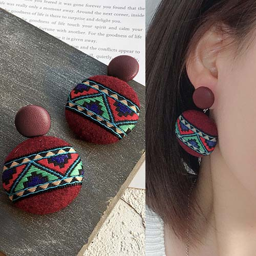 Anting Bohemian retro ethnic style geometric fabric leather earrings J41070
