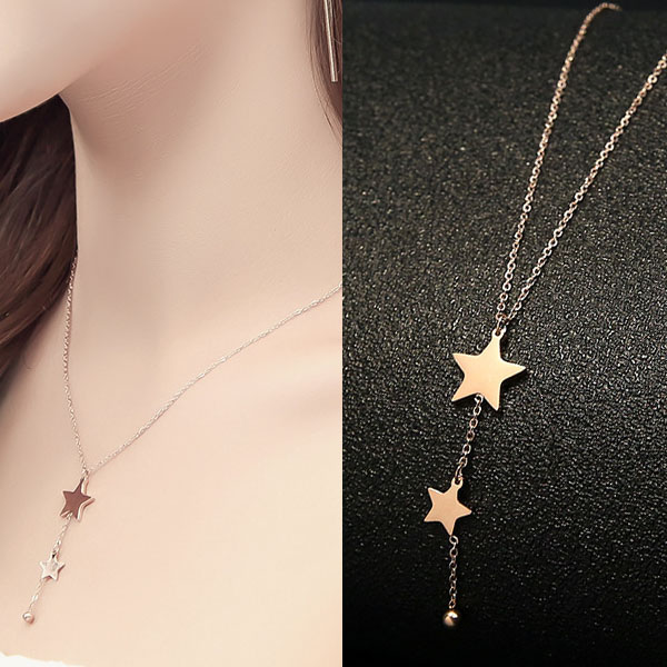 Kalung Titanium Steel Rose Gold Plated 18k stars necklace J41122