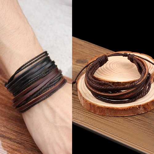 Gelang Fashion Bohemian leather bracelet J4U065