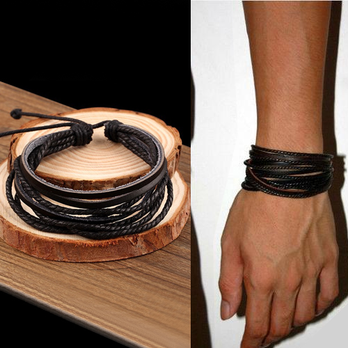 Gelang Fashion Bohemian leather bracelet J4U066