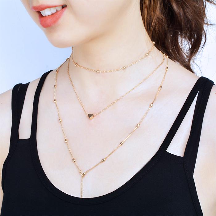 Kalung Multi layer heart pendants necklace J4U076