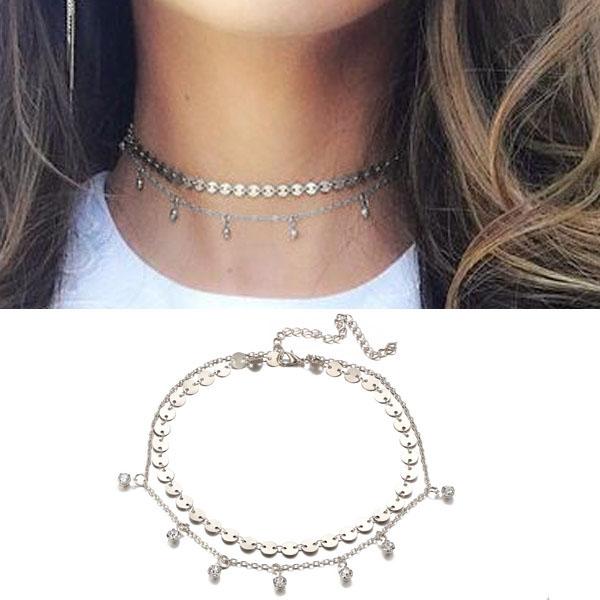Kalung Multi layer choker diamond necklace J4U078