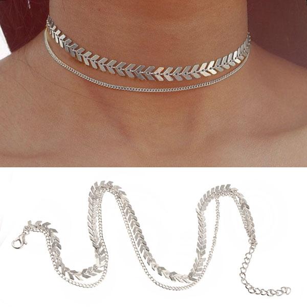 Kalung Fish bone choker chain necklace J4U080
