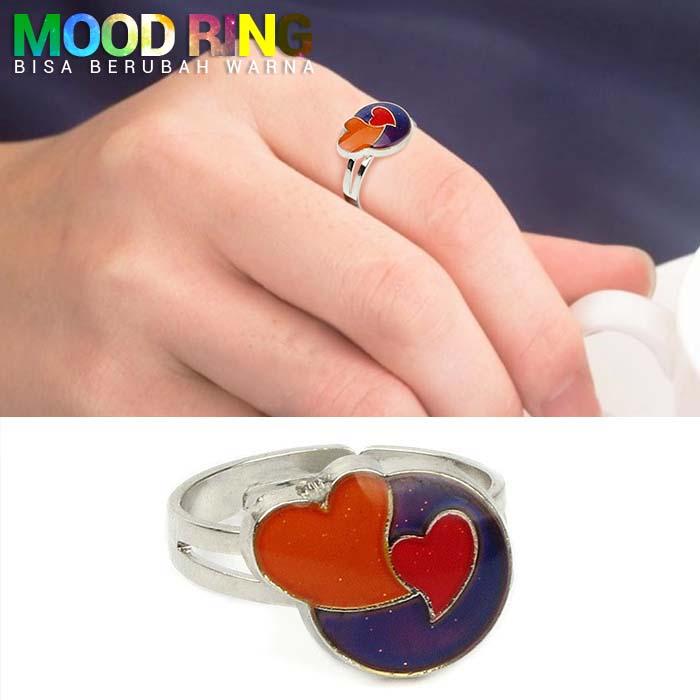 Mood Ring Sweet Heart Round Shape bisa berubah warna J4U084