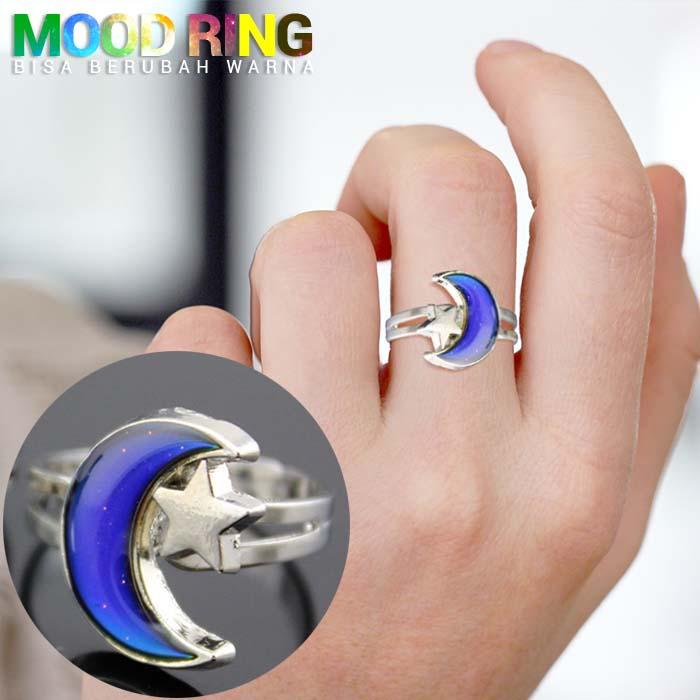 Mood Rings Star Half Moon Shape bisa berubah warna J4U086