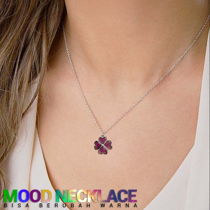 Mood Necklace Stainless Steel Clover Shape bisa berubah warna J4U088