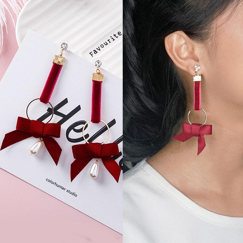 Anting fabric ribbon pearl earrings J4U157