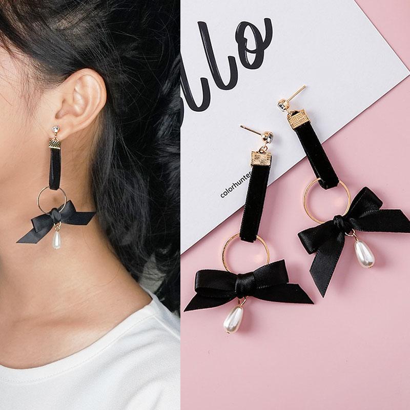 Anting fabric ribbon pearl earrings J4U158