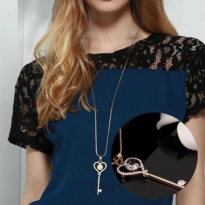 Kalung Love Key Necklace Pendant J4U320