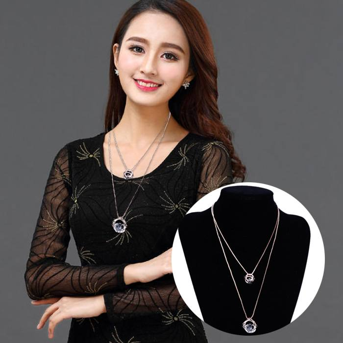 Kalung Double Layered Multilayer Sweater Chain J4U327