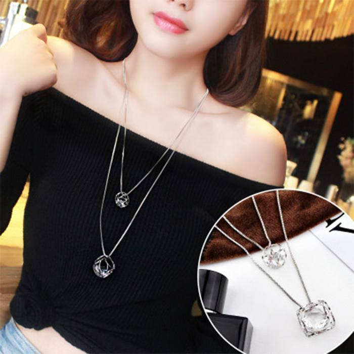 Kalung Double Layered Multilayer Sweater Chain J4U328