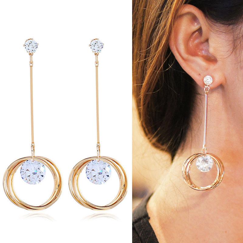 Anting Korea Zircon long stem triple ring earrings J4U400