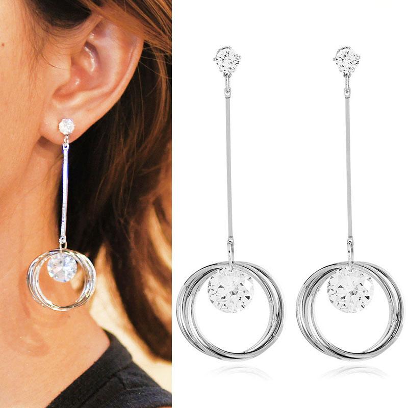 Anting Korea Zircon long stem triple ring earrings J4U401