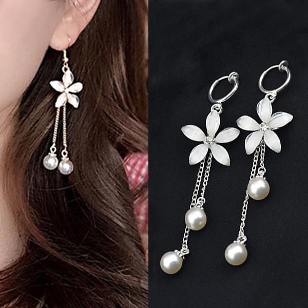 Anting flower tassel pearl earrings J4U521