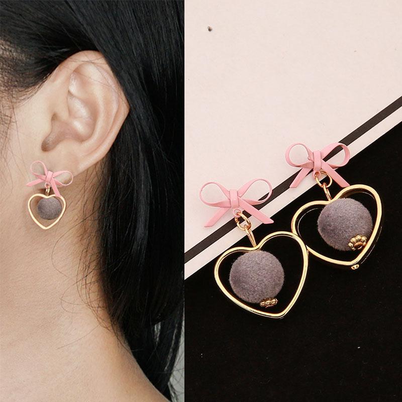 mini PomPom bowknot earrings J4U596
