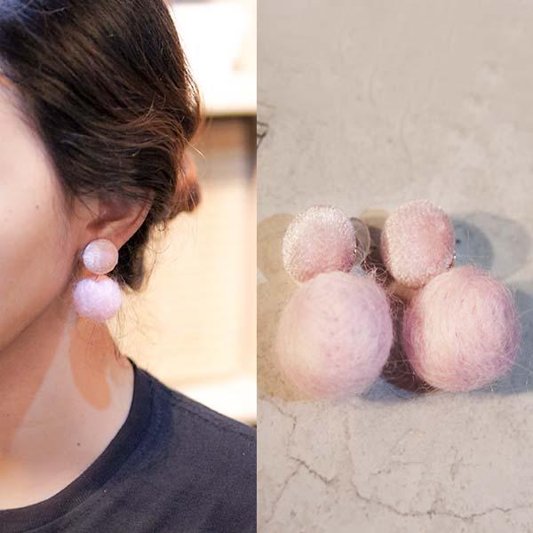 Anting PomPom round earrings J4U638