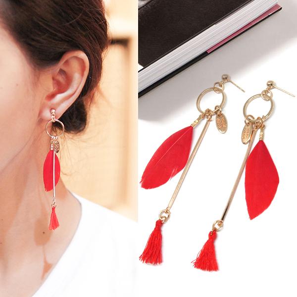 Anting Bohemian feather tassel earrings J4U666