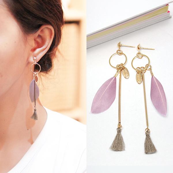 Anting Bohemian feather tassel earrings J4U668