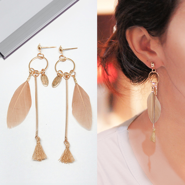 Anting Bohemian feather tassel earrings J4U669