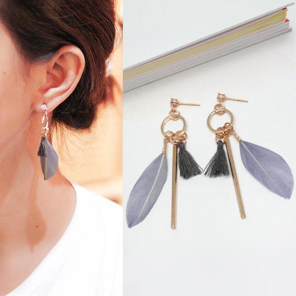 Anting Bohemian diamond feather tassel stem earrings J4U671