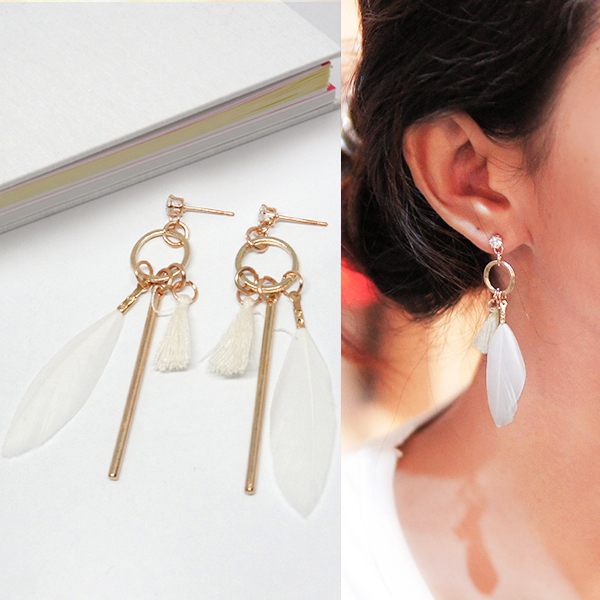 Anting Bohemian diamond feather tassel stem earrings J4U672