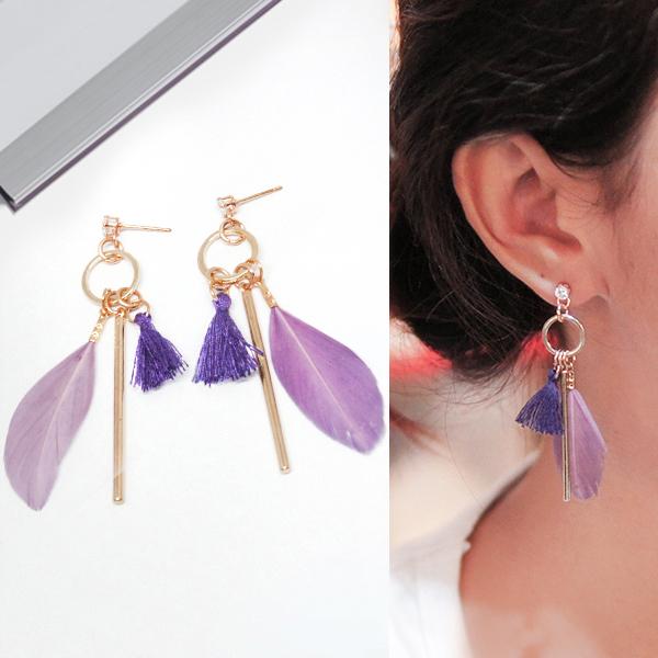 Anting Bohemian diamond feather tassel stem earrings J4U673