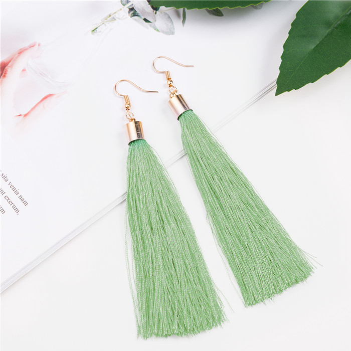 Anting Bohemian retro tassel ear hook earrings J4U691