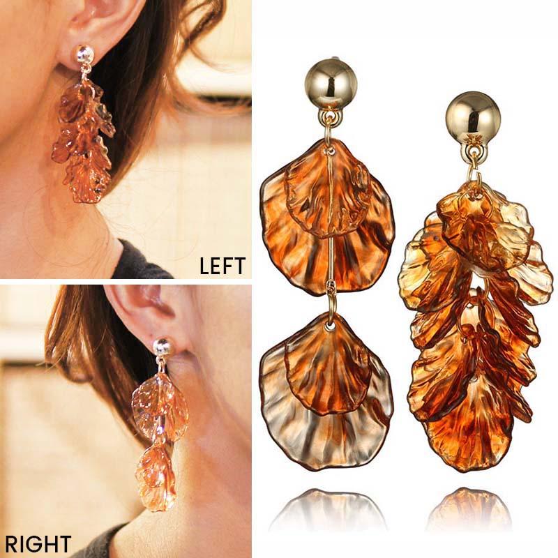 Bohemian retro simple acrylic shell asymmetric earrings J4U756