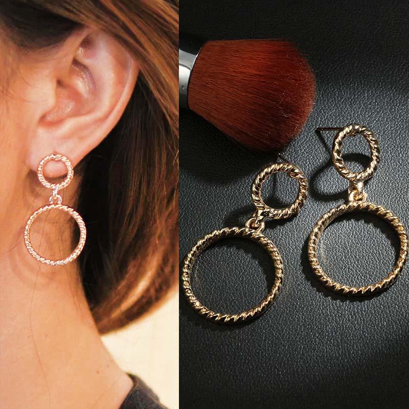 Geometric stud round earrings J4U760