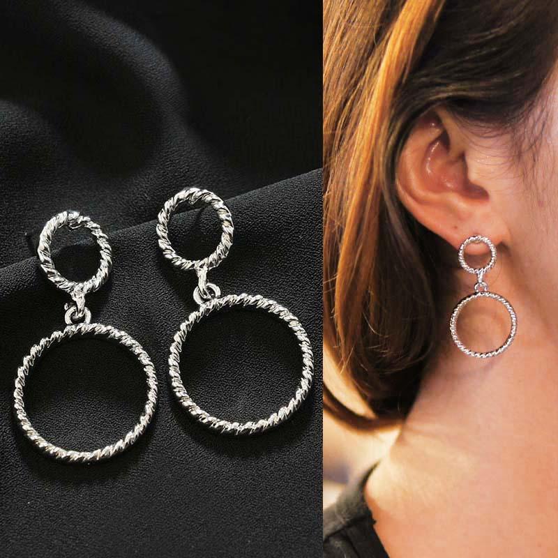 Geometric stud round earrings J4U761