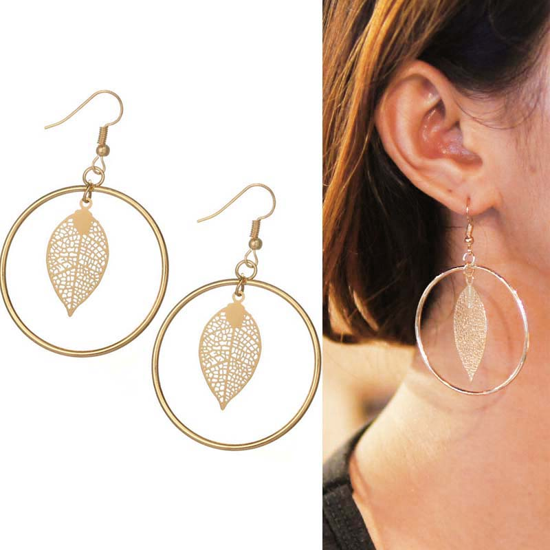 Geometric leaves round earrings J4U764