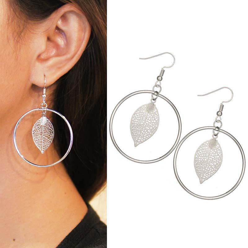 Geometric leaves round earrings J4U765