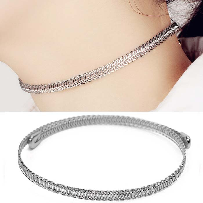 Kalung Fashion Choker wire wrapped mesh necklace J4U777