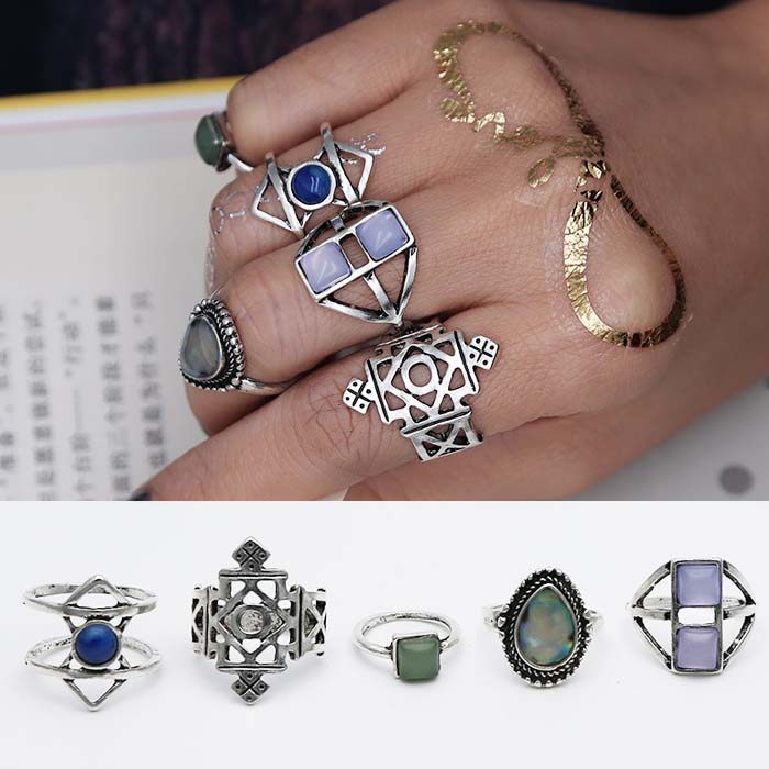 Cincin Korea Bohemian midi multi layer ring  retro court J4U799