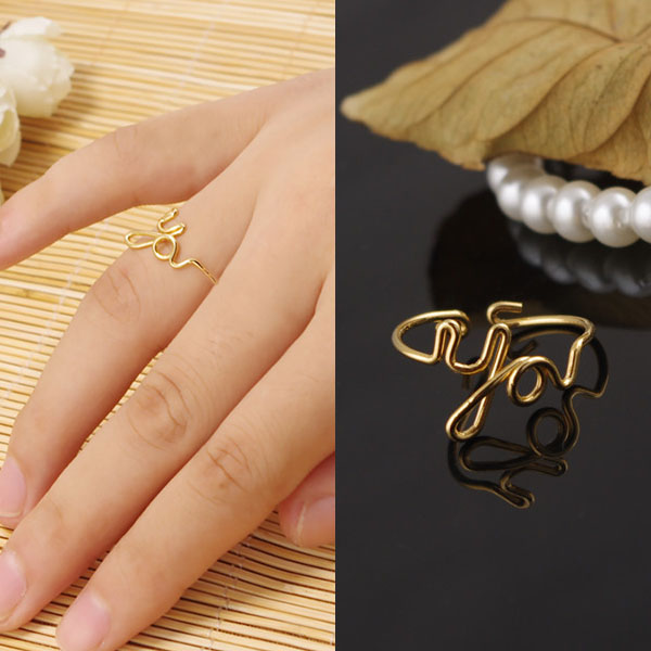 Cincin Korea Minimalist Wire letter YOU ring J4U820