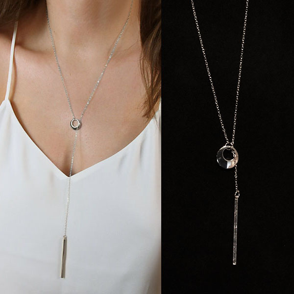 Kalung Circle copper metal necklace J4U821