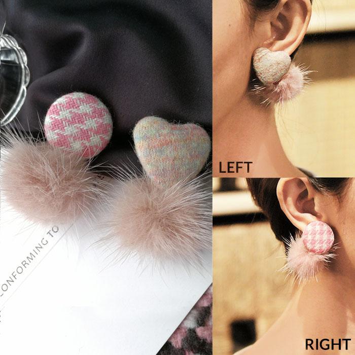 Bohemian love round fabric earrings J4U857