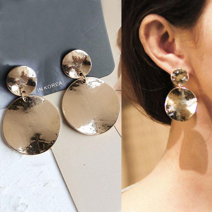 Bohemian retro minimalist metal earrings J4U860