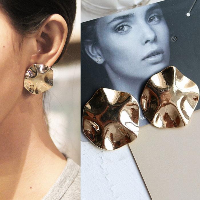 Bohemian retro minimalist metal earrings J4U862