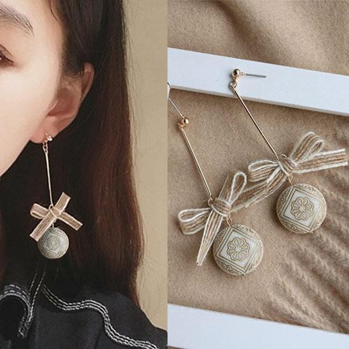 Bohemian retro rope bow earrings J4U865