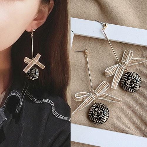 Bohemian retro rope bow earrings J4U866