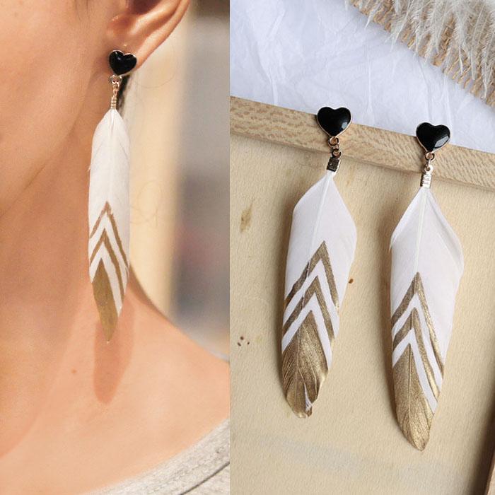 Bohemian retro feather earrings J4U867
