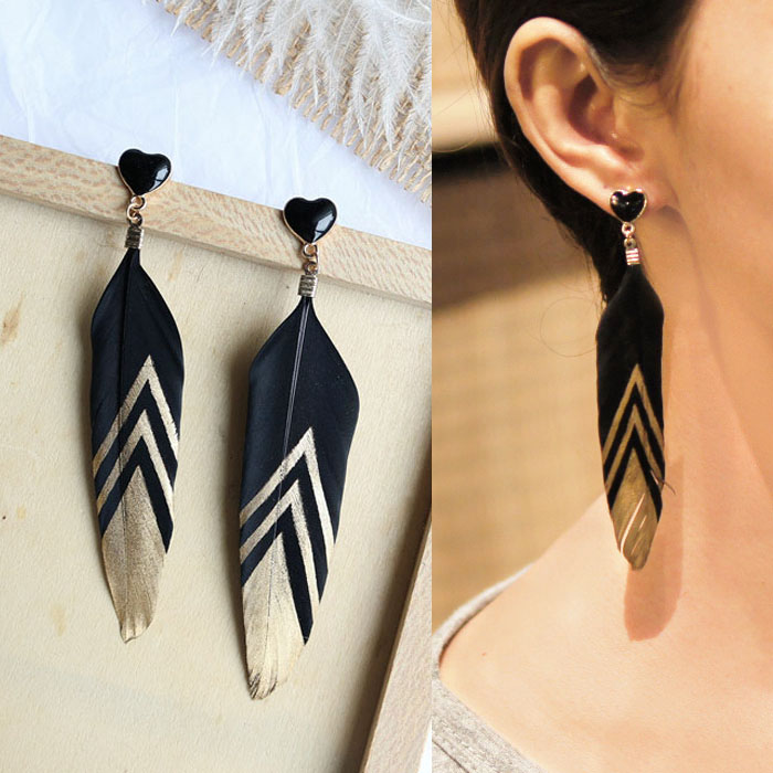 Bohemian retro feather earrings J4U868