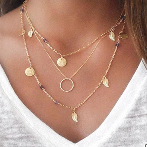 Kalung Multi layer geometric leaf necklace J4U889