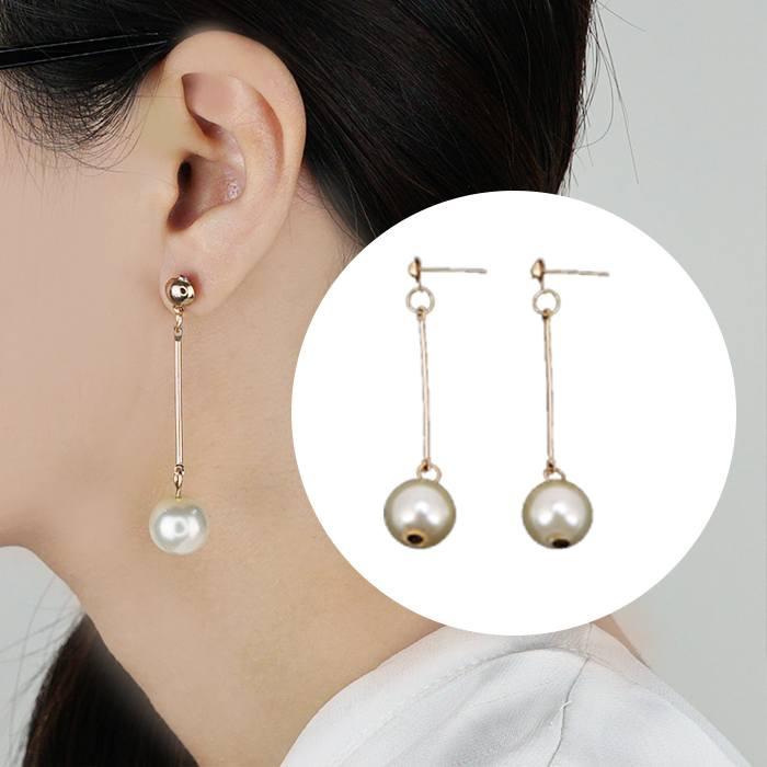 Fringed long pearl earrings J4U898