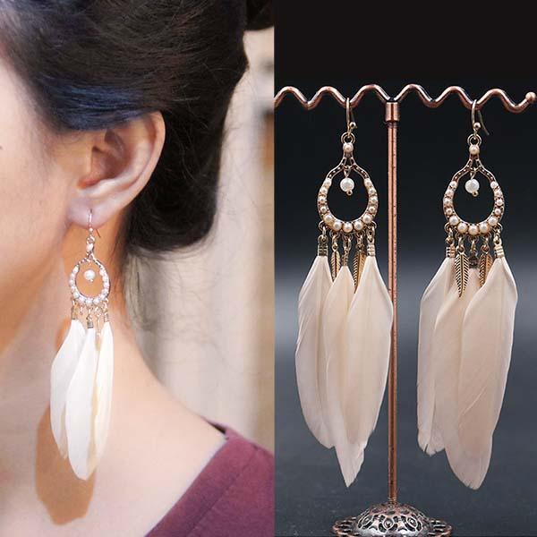 Anting Bohemian pearl feather long earrings J4U968