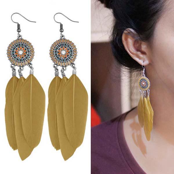 Anting Bohemian ethnic round feather earrings J4U977