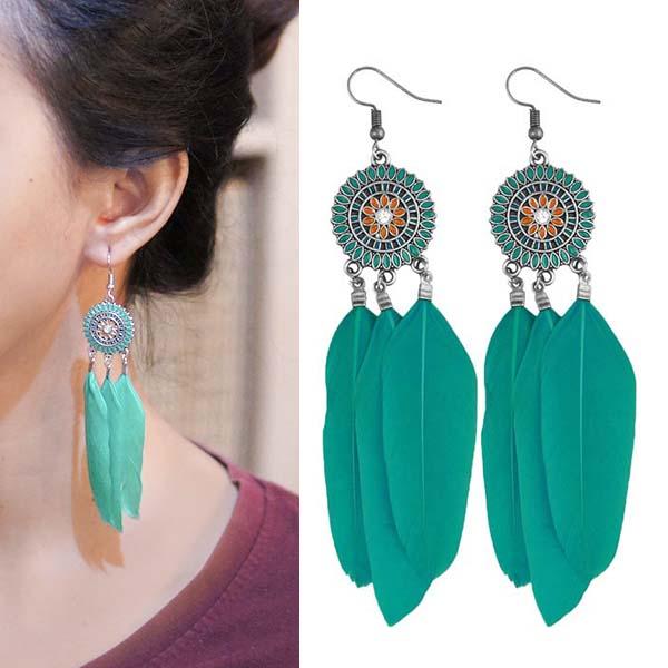 Anting Bohemian ethnic round feather earrings J4U978