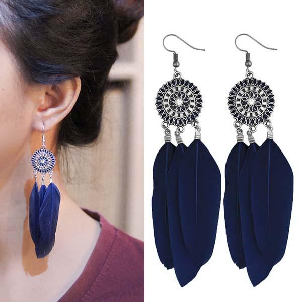 Anting Bohemian ethnic round feather earrings J4U979